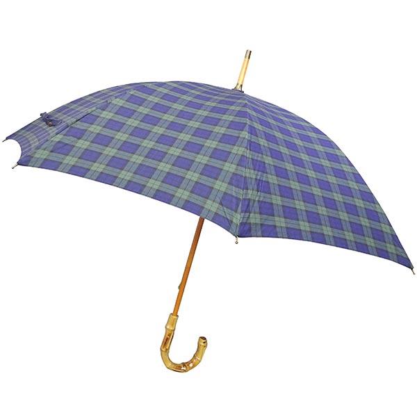 綿チェック柄長傘